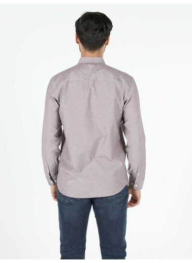 Colin's Regular Fit Shirt Neck Erkek Kahverengi Uzun Kol Gömlek Kahve